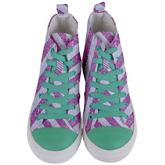 Stripes3 White Marble & Purple Glitter Women s Mid Top Canvas Sneakers