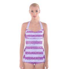 Stripes2white Marble & Purple Glitter Boyleg Halter Swimsuit
