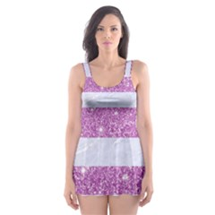 Stripes2white Marble & Purple Glitter Skater Dress Swimsuit by trendistuff