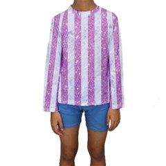 Stripes1 White Marble & Purple Glitter Kids  Long Sleeve Swimwear by trendistuff
