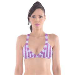 Stripes1 White Marble & Purple Glitter Plunge Bikini Top