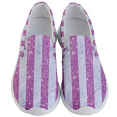 Stripes1 White Marble & Purple Glitter Men s Lightweight Slip Ons