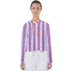 Stripes1 White Marble & Purple Glitter Women s Slouchy Sweat