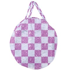 Square1 White Marble & Purple Glitter Giant Round Zipper Tote