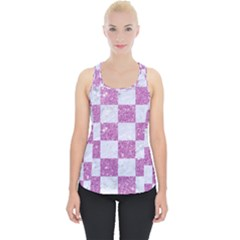 Square1 White Marble & Purple Glitter Piece Up Tank Top