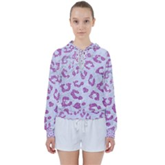 Skin5 White Marble & Purple Glitter Women s Tie Up Sweat