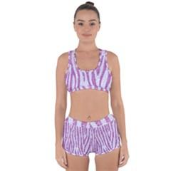 Skin4 White Marble & Purple Glitter Racerback Boyleg Bikini Set