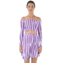 Skin4 White Marble & Purple Glitter Off Shoulder Top With Skirt Set