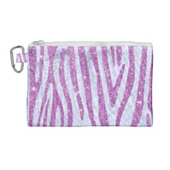 Skin4 White Marble & Purple Glitter Canvas Cosmetic Bag (large)