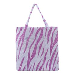 Skin3 White Marble & Purple Glitter (r) Grocery Tote Bag by trendistuff
