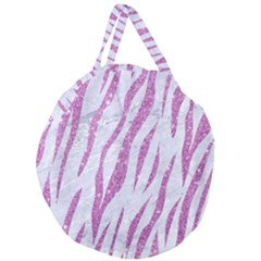 Skin3 White Marble & Purple Glitter (r) Giant Round Zipper Tote
