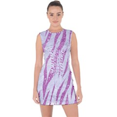 Skin3 White Marble & Purple Glitter (r) Lace Up Front Bodycon Dress