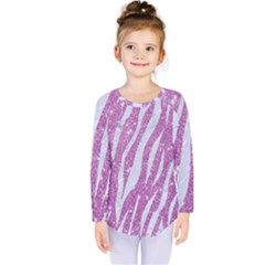 Skin3 White Marble & Purple Glitter Kids  Long Sleeve Tee