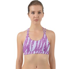 Skin3 White Marble & Purple Glitter Back Web Sports Bra