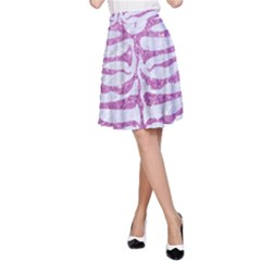 Skin2 White Marble & Purple Glitter (r) A Line Skirt by trendistuff