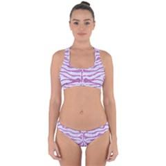Skin2 White Marble & Purple Glitter (r) Cross Back Hipster Bikini Set