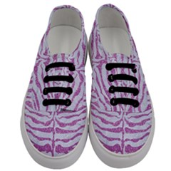 Skin2 White Marble & Purple Glitter (r) Men s Classic Low Top Sneakers