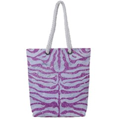 Skin2 White Marble & Purple Glitter (r) Full Print Rope Handle Tote (small)