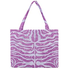 Skin2 White Marble & Purple Glitter Mini Tote Bag by trendistuff