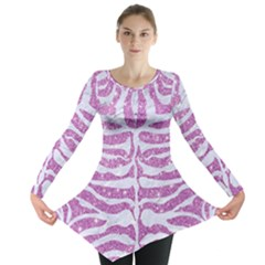 Skin2 White Marble & Purple Glitter Long Sleeve Tunic  by trendistuff