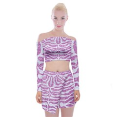 Skin2 White Marble & Purple Glitter Off Shoulder Top With Mini Skirt Set