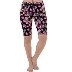 Pink Tulip Print Cropped Leggings