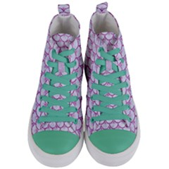 Scales3 White Marble & Purple Glitter (r) Women s Mid Top Canvas Sneakers