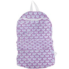 Scales3 White Marble & Purple Glitter (r) Foldable Lightweight Backpack