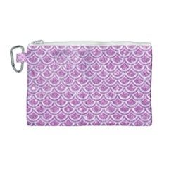 Scales2 White Marble & Purple Glitter Canvas Cosmetic Bag (large)