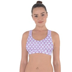 Scales1 White Marble & Purple Glitter (r) Cross String Back Sports Bra