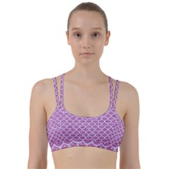 Scales1 White Marble & Purple Glitter Line Them Up Sports Bra