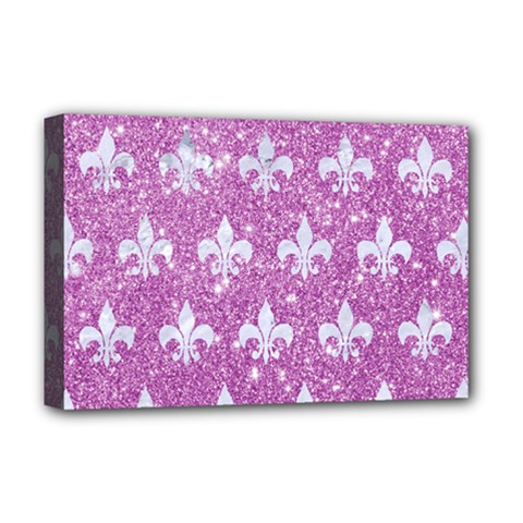 Royal1 White Marble & Purple Glitter (r) Deluxe Canvas 18  X 12   by trendistuff