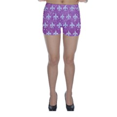Royal1 White Marble & Purple Glitter (r) Skinny Shorts by trendistuff