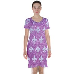 Royal1 White Marble & Purple Glitter (r) Short Sleeve Nightdress