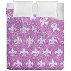 Royal1 White Marble & Purple Glitter (r) Duvet Cover Double Side (california King Size) by trendistuff