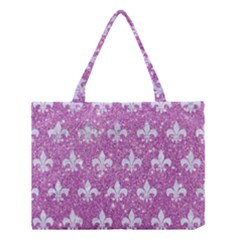Royal1 White Marble & Purple Glitter (r) Medium Tote Bag by trendistuff