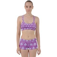 Royal1 White Marble & Purple Glitter (r) Women s Sports Set