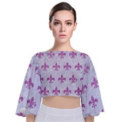 Royal1 White Marble & Purple Glitter Tie Back Butterfly Sleeve Chiffon Top