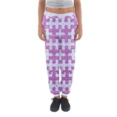 Puzzle1 White Marble & Purple Glitter Women s Jogger Sweatpants