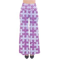 Puzzle1 White Marble & Purple Glitter So Vintage Palazzo Pants