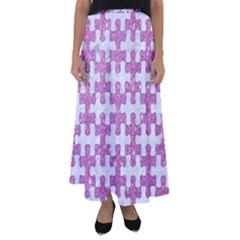 Puzzle1 White Marble & Purple Glitter Flared Maxi Skirt