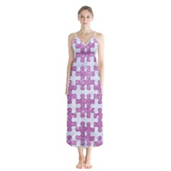 Puzzle1 White Marble & Purple Glitter Button Up Chiffon Maxi Dress