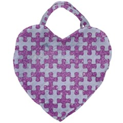 Puzzle1 White Marble & Purple Glitter Giant Heart Shaped Tote