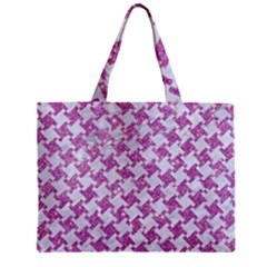 Houndstooth2 White Marble & Purple Glitter Zipper Mini Tote Bag by trendistuff