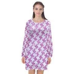 Houndstooth2 White Marble & Purple Glitter Long Sleeve Chiffon Shift Dress