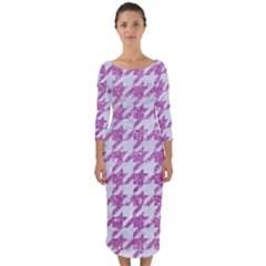 Houndstooth1 White Marble & Purple Glitter Quarter Sleeve Midi Bodycon Dress