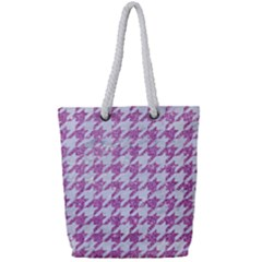 Houndstooth1 White Marble & Purple Glitter Full Print Rope Handle Tote (small) by trendistuff