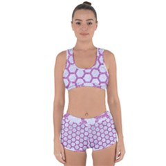 Hexagon2 White Marble & Purple Glitter (r) Racerback Boyleg Bikini Set