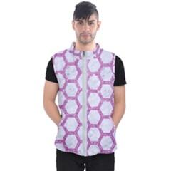 Hexagon2 White Marble & Purple Glitter (r) Men s Puffer Vest