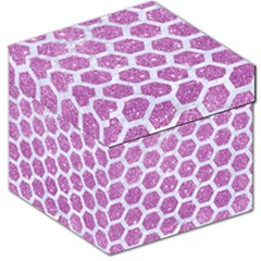 Hexagon2 White Marble & Purple Glitter Storage Stool 12   by trendistuff